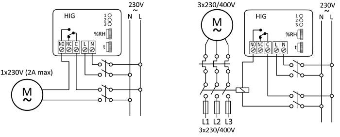 HIG-2 - schemat podłączeń elektrycznych