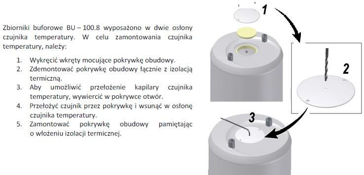 Montaż czujnika temperatury zbiornika BU–100-8