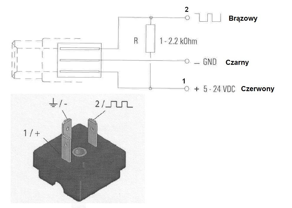 Schemat podłączeń przepływomierza
