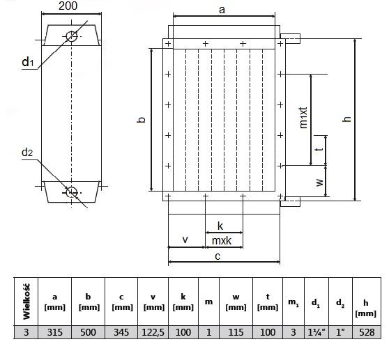 Wymiary nagrzewnicy NP-3-III-0,6